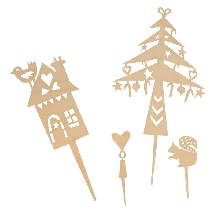 Houten cake toppers 'Winter'-2456